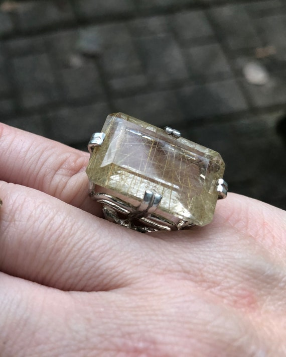 Large Emerald cut Rutilated Quartz golden rutile collector gem ring sterling silver handmade fine jewelry custom size 4 5 6 7 8 9 10 11