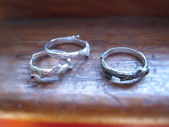 Woodsy Pixie Sprite Twig Ring Sterling Silver handmade custom finish size 4 5 6 7 8 9 10 11 12 13 Wedding Bride Set Mens Unisex fine jewelry