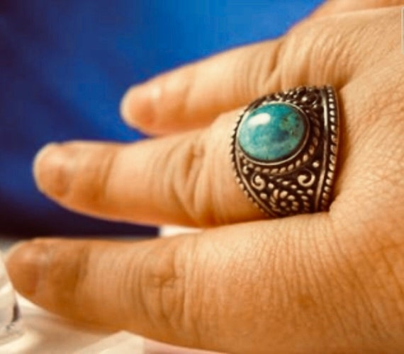 Genuine Turquoise Gemstone Western Style Sterling Silver Ring custom size 4 5 6 7 8 9 10 11