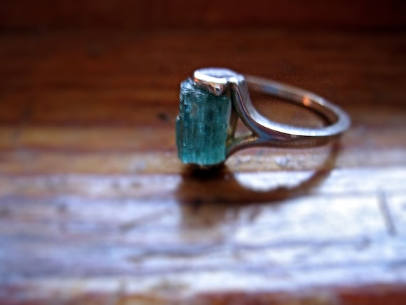Raw deep Green Blue Tourmaline Crystal Specimen Ring Sterling Silver handmade bohemian red ruby 4 5 6 7 8 9 10 half sizes unique odd
