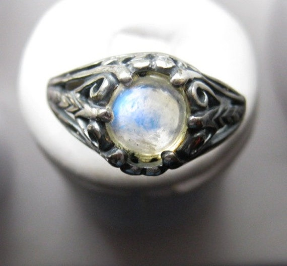 Rainbow Moonstone Gypsy Style Sterling Silver Antique Filigree Ring handmade fine jewelry size 4 5 6 7 8 9 10 half blue cloud oddity