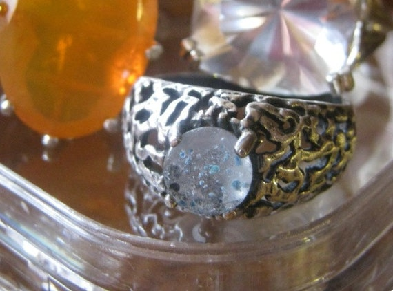 Tiny Planet Mercury Ring /Medusa Quartz set in Textured Sterling Silver Ring