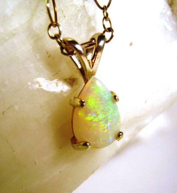 Genuine Opal Teardrop Pendant necklace sterling silver white green orange yellow cabochon handmade fine jewelry chain included pear shape