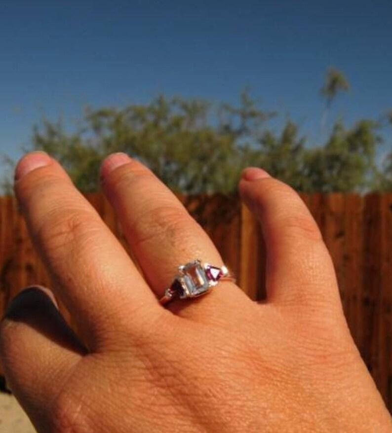 Handmade Three stone ring faceted Labradorite Emerald Cut white topaz trillions sterling silver Blue Custom size 4 5 6 7 8 9 10 fine jewelry