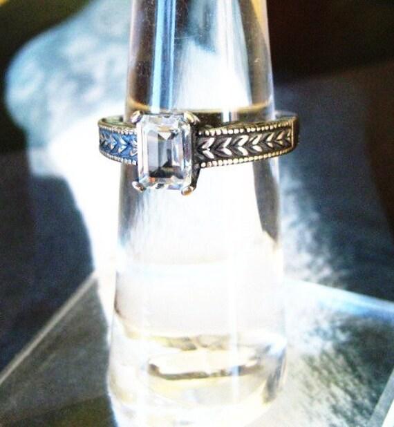 White Topaz Emerald Cut Stone Heavy Sterling Silver Ring Genuine Gemstone handmade custom sizes 4 4.5 5 5.5 6 6.5 7 7.5 8 8.5 9 fine jewelry