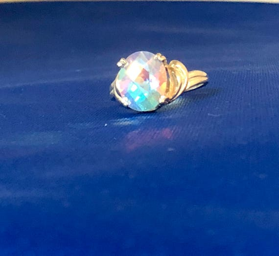 Aurora Borealis Rainbow Topaz Sterling Silver Ring blue pink yellow purple Mercury Mist handmade custom size 4 5 6 7 8 9 10 11 fine jewelry