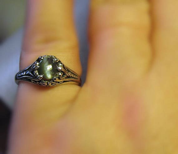 Rare Natural Alexandrite Color Change Green Blue Cats-eye Ring Sterling Silver handmade size fine jewelry 14k yellow gold