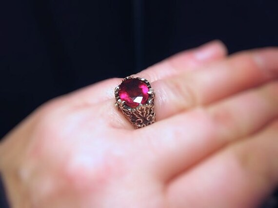 Deep Red Rhodolite Garnet Leaf Patterned Ring diamond accents Heavy Sterling Silver Unisex Handmade Custom Size 4 5 6 7 8 9 10 fine jewelry