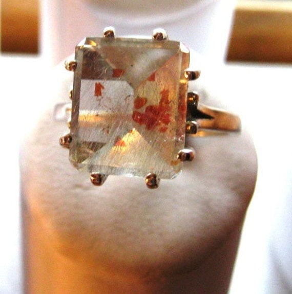 Strawberry Quartz emerald cut Sterling Silver Ring blood red spots collectors stone handmade unusual oddity custom sizes 4 5 6 7 8 9 10 half