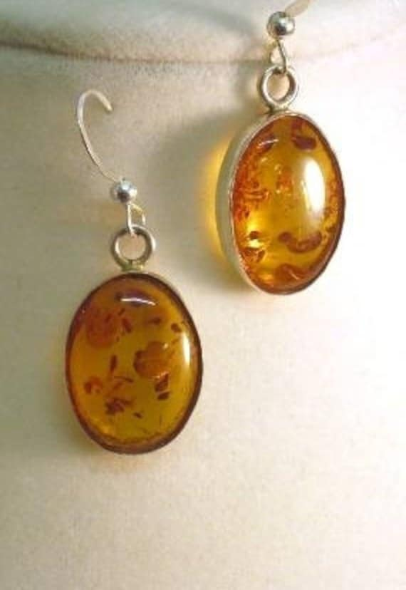 Genuine Prehistoric Amber Earring 12x10mm dangle Sterling Silver Bezel Set handmade fine jewelry orange pendant necklace or ring set