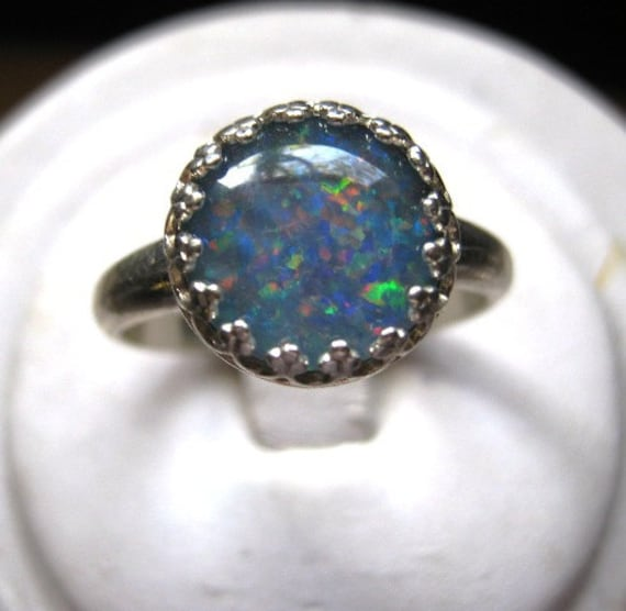 Genuine Opal Triplet Ring Sterling Silver bezel set handmade size 4 5 6 7 8 9 10 11 blue green red fine jewelry 10mm round