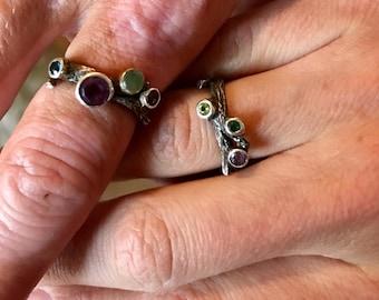 Unique Gemstone Ring Sterling Silver Twig 1 2 3 or 4 gem handmade 1/2 size 6 7 8 9 10 blue white topaz purple amethyst tanzanite alexandrite
