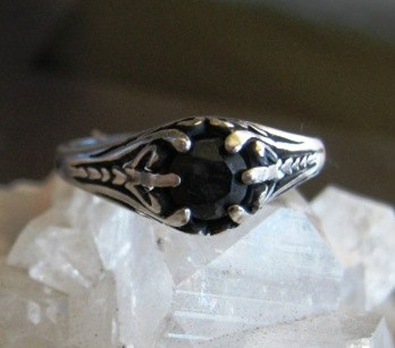 Midnight Sapphire set in Vintage look sterling silver ring