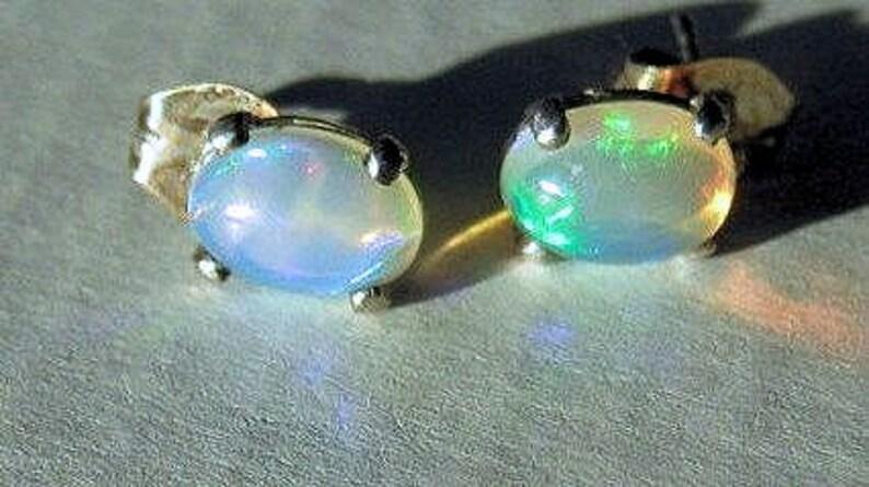 Genuine Welo Ethiopian Opal stud post Earrings Sterling Silver image 0