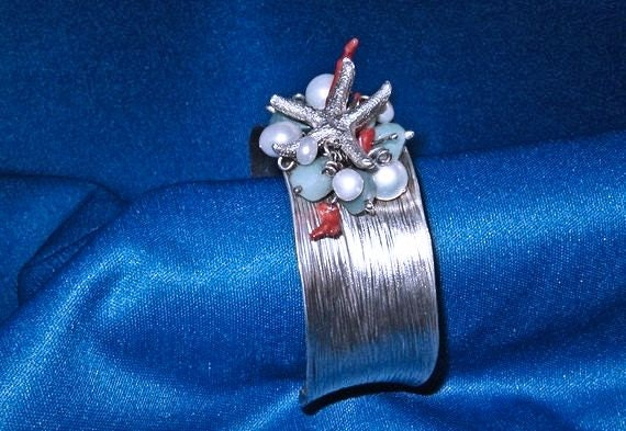 Fine Silver Baby Starfish PMC Rare Natural Red Coral Pearl Sterling Cuff Bracelet handmade fine jewelry one of a kind small medium size