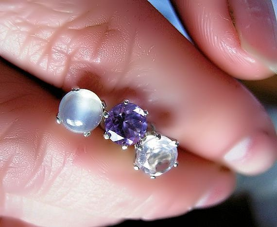 Gemstone Stud Earrings Sterling Silver 6mm Green Chrome Diopside White Topaz Catseye Moonstone Purple Amethyst Iolite Labradorite Black Onyx
