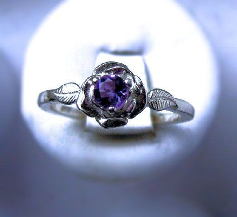 Sweet Rose Ring Sterling Silver Tiny Purple Amethyst Sapphire image 0