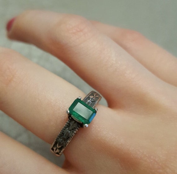 Green Emerald Genuine Cut Gemstone Sterling Silver Ring Blue Sapphire Tanzanite Handmade Fine Jewelry Patterned 1/2 size 4 5 6 7 8 9 10 1/2