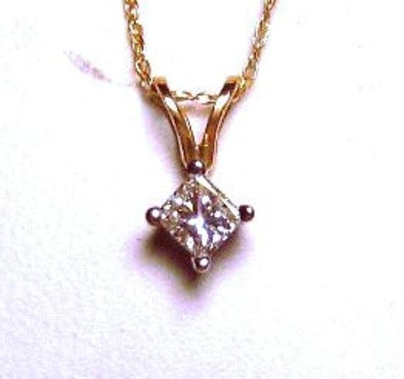 Genuine White Diamond .25ct Princess cut 14k yellow Gold handmade 18inch pendant chain necklace rope square fancy deep orange fine jewelry