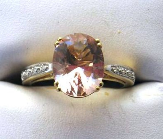 Peach/ Pink Morganite 8x10mm tiered ring accented w/ deep pink tourmaline and diamonds 10k yellow gold ring size 7 fine jewelry handmade