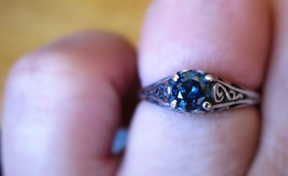 Genuine Blue Diamond .35ct round brilliant or rose cut Filigree Ring Sterling Silver handmade custom size 3 4 5 6 7 8 9 10 11 fine jewelry