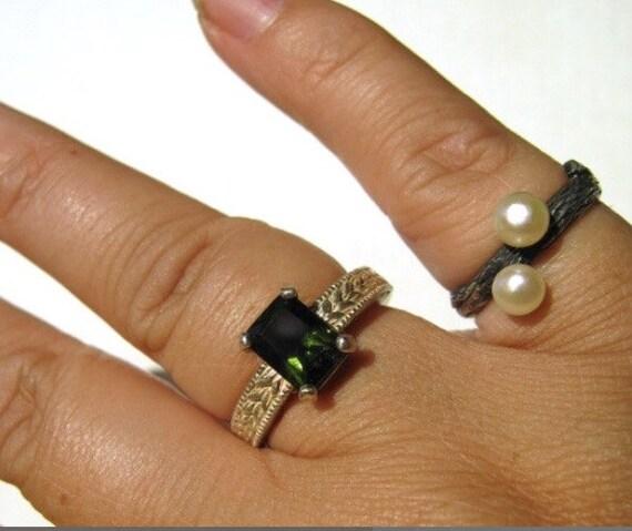 Emerald Cut Green Moldavite Ring Sterling silver handmade fine jewelry size 5 6 7 8 9 10 11 12 13 custom