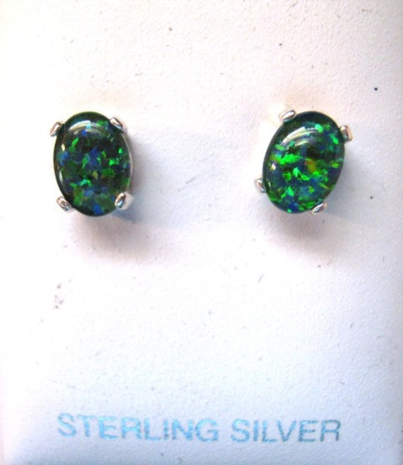 Man made Fiery Black Opal /w red green blue Triplet Stud Earrings Sterling Silver custom sizes 8x6 10x8mm unisex handmade fine jewelry