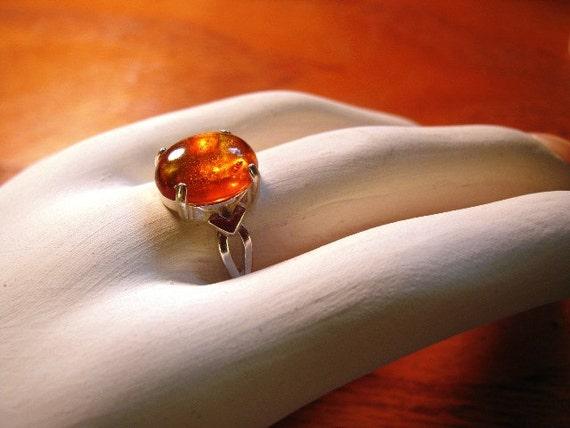 Genuine Amber Ring Sterling Silver orange golden glow custom size 18x13 or 12x10mm cab handmade 3 4 5 6 7 8 9 10 11 fine jewelry