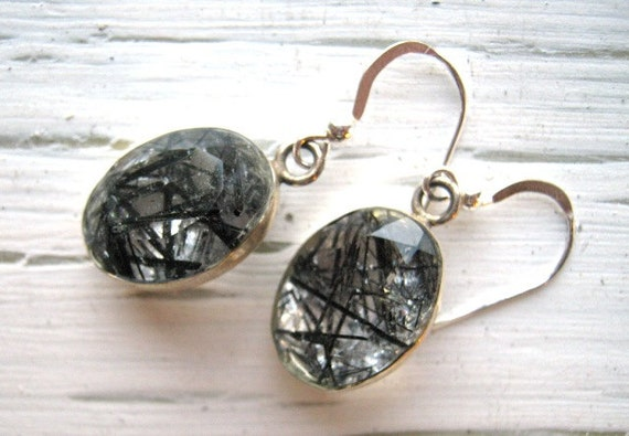 Big Tourmalinated Quartz Earrings in Sterling Silver