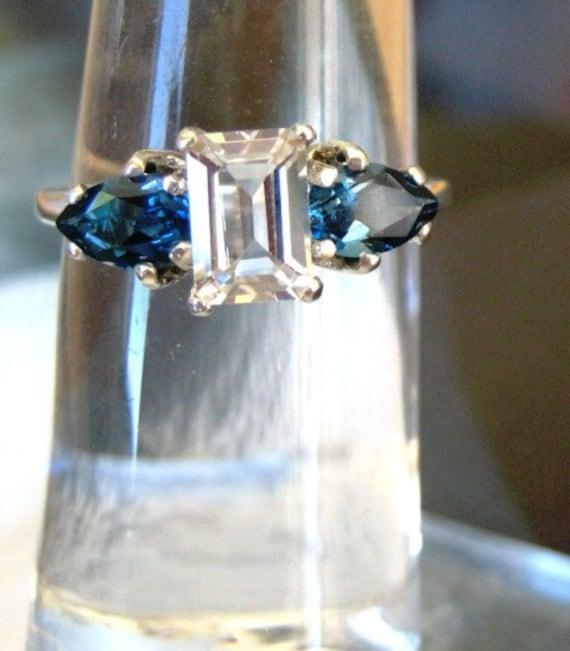 Emerald Cut White Topaz w/ Teardrop Pear Sterling Silver Ring Red Ruby Blue spinel Sapphire handmade fine jewelry sizes 4 5 6 7 8 9 10 half