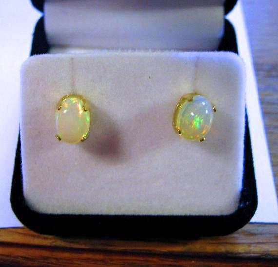 Fiery Ethiopian Welo Opal Stud Earrings Handmade 14k white yellow gold Fine Jewelry Cabochon cut Natural Gemstone Precious Stone