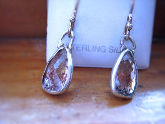 Lepidocrosite Quartz Gemstone Dangle Earrings Sterling Silver Bezel pendant Set Clear Red Handmade Fine Jewelry Strawberry Unique Oddity