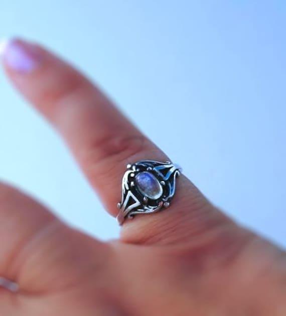 Sweet Rainbow Moonstone Ring sterling silver friendship handmade fine jewelry custom white opal 3 3.5 4 4.5 5 5.5 6 6.5 7 7.5 8 8.5 9 9.5 10