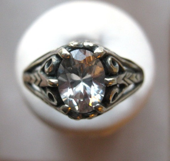 Natural Earth Mine White Zircon Sterling Silver Ring Antique Style diamond substitute handmade custom size 4 5 6 7 8 9 10 half fine jewelry