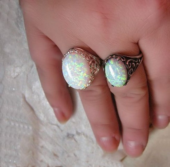 Choice of Lab created or Genuine Australian White Opal Ring Sterling Silver handmade fine jewelry size 4 5 6 7 8 9 10 11 custom