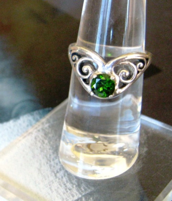 Green Tourmaline Gypsy Ring sterling silver scroll handmade custom sizes half sizes 4 5 6 7 8 9 10 11 fine jewelry collector gem