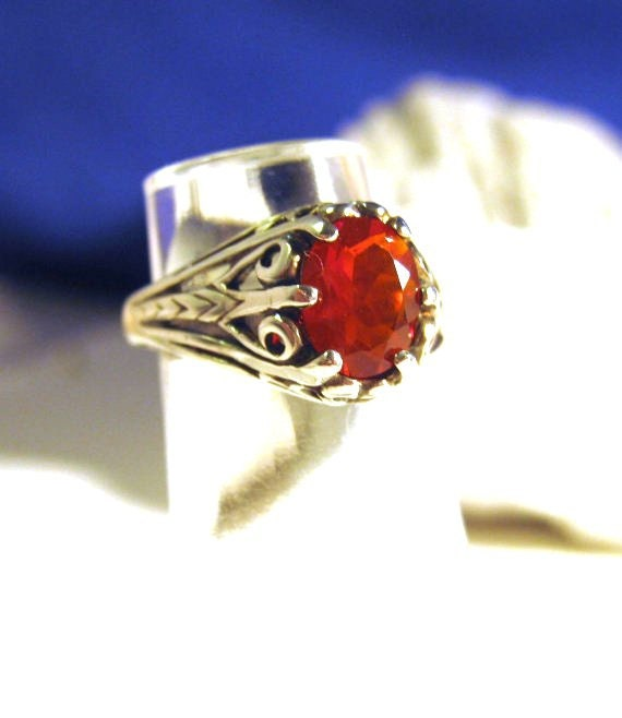 Earth Mine Mexican Cherry Red Fire Opal Sterling Silver Filigree Ring Nautral color handmade size 4 5 6 7 8 9 10 11 1/2 half fine jewelry