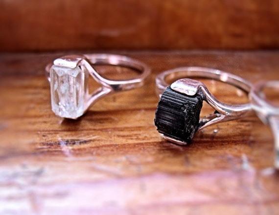 Genuine Raw Black Tourmaline Crystal Specimen Ring Sterling Silver handmade unisex mineral beryl topaz 4 5 6 7 8 9 10 half sizes unique odd