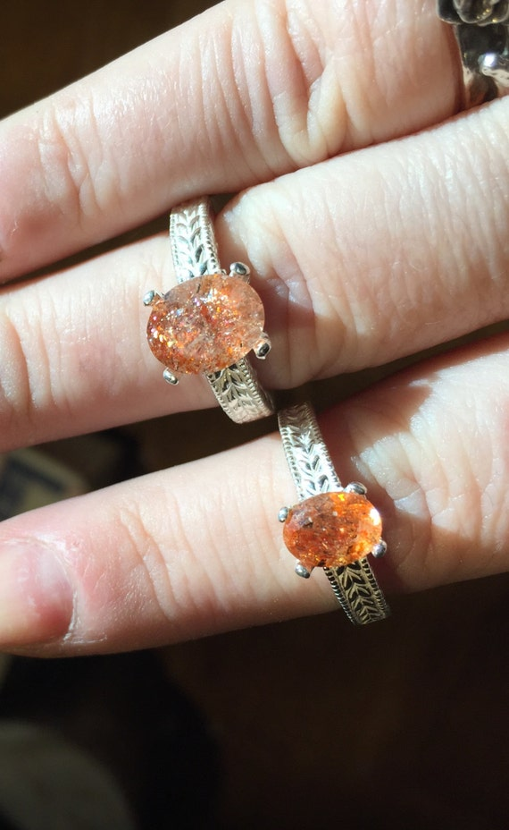 Sunstone Fiery Sparks Orange Natural Copper Collector Stone Ring Sterling Silver Handmade 1/2 4 5 6 7 8 9 10 11 half sizes fine jewelry