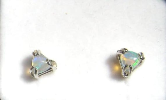 Sterling Silver Gemstone Studs/ Dangle Earrings Trillion Handmade Opal White blue Topaz violet Iolite Purple Amethyst Gemstone fine jewelry