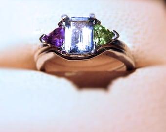 Emerald Cut Genuine Gemstone Sterling Silver Ring Trillion Accents Handmade Blue Topaz Purple Amethyst Fine jewelry size 3 4 5 6 7 8 9 10