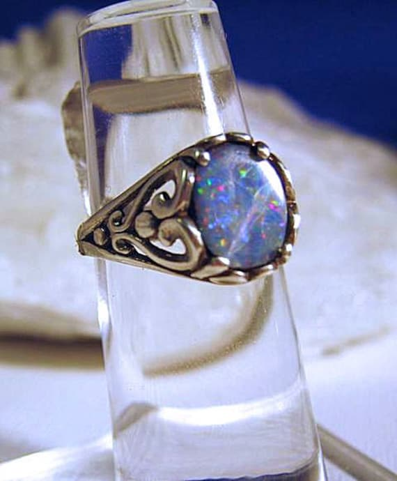 Mysterious Dark Real Opal Doublet Sterling Silver Ring scroll pattern blue red green antiqued handmade size 4 5 6 7 8 9 10 11 fine jewelry