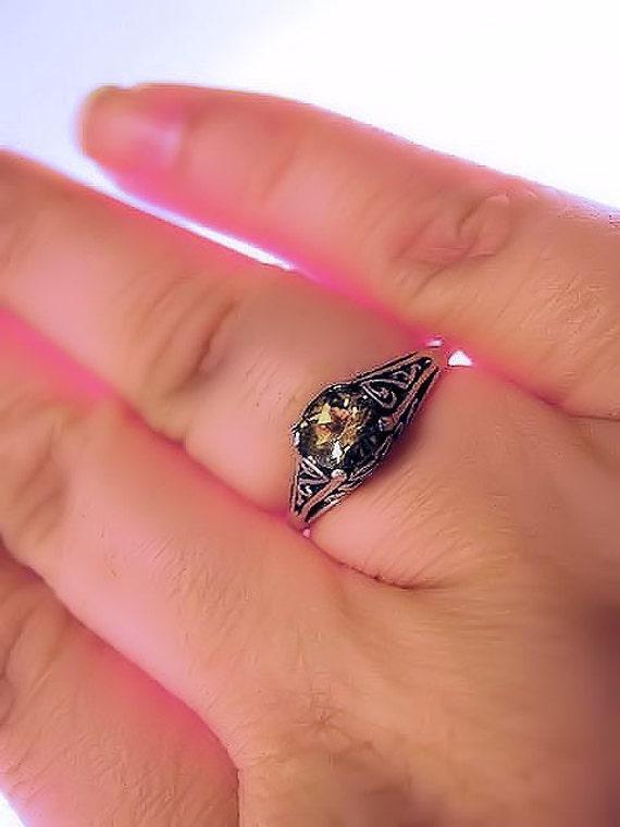 Birthstone Sterling Silver Filigree Ring handmade purple amethyst yellow citrine blue white opal topaz fine jewelry size 3 4 5 6 7 8 9 10 11