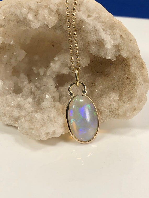 Genuine Ethiopian Opal Cabochon 14k Gold Filled Pendant Necklace 23x11mm Blue Green Purple Fire Translucent Large Handmade Fine Jewelry