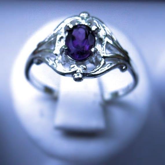 Sweet Amethyst Ring Sterling Silver Handmade Custom Genuine Gemstone Purple iolite White Blue Topaz Moonstone fine jewelry size 6 6.5 7 7.5