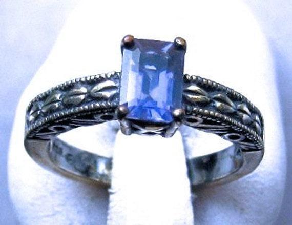 Violet Iolite Emerald Cut Gemstone Sterling Silver Patterned Band Ring handmade size 4 5 6 7 8 9 10 blue topaz golden citrine fine jewelry