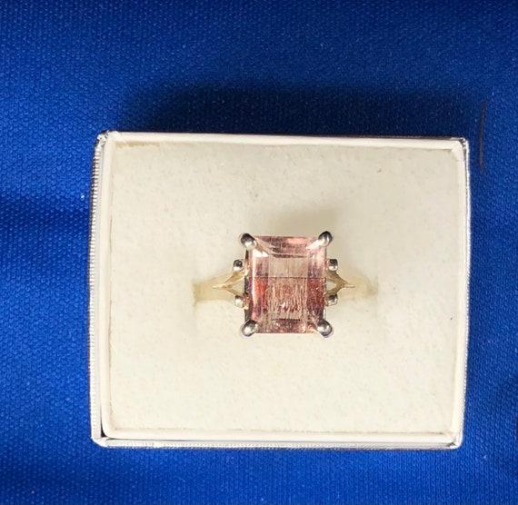 Keepin it Weird Red & Clear base Strawberry Quartz emerald cut ring Sterling Silver handmade unique lepidocrosite crystal custom sizes