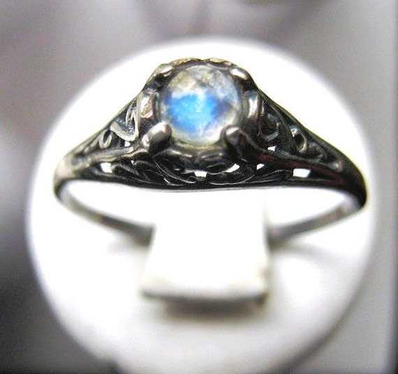 Tiny Rainbow Moonstone Handmade Ring Sterling Silver blue moon antique filigree fine jewelry custom size 3 4 5 6 7 8 9 10 half sizes