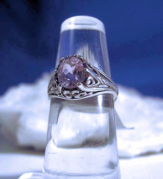 Light Pink Natural Kunzite Antique Style filigree Sterling Silver Ring handmade size 4 4.5 5 5.5 6 6.5 7 7.5 8 8.5 9 9.5 10 fine jewelry