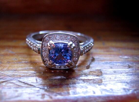 Handmade Engagement Ring Genuine Tanzanite Diamonds 14k White Gold Fine Jewelry Custom 1/2 5 6 7 8 9 Purple Blue Aqua